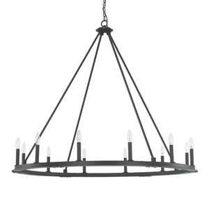 Fulton Black Iron Twelve-Light Minimalist Chandelier