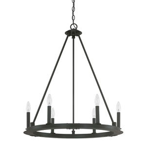 Fulton Black Iron Six-Light Minimalist Chandelier