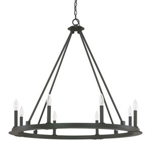 Fulton Black Iron Eight-Light Minimalist Chandelier