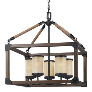 River Station Black and Wood Five-Light Chandelier