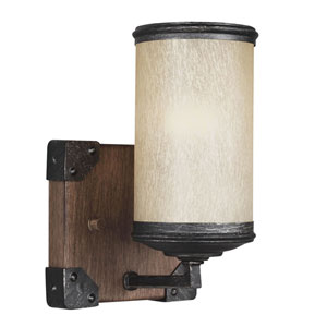River Station Black and Wood One-Light Bath Sconce