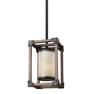 River Station Black and Wood One-Light Mini Pendant