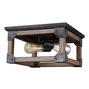 River Station Black and Wood Two-Light Flush Mount