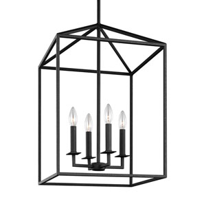 Uptown Textured Black 19-Inch Four-Light Pendant