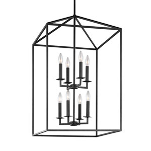 Uptown Textured Black Eight-Light Pendant