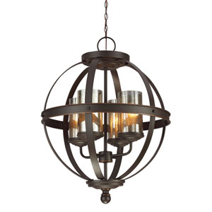 Afton Bronze Four-Light Chandelier with Mercury Glass