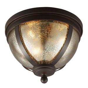Afton Bronze Three-Light Flush Mount with Mercury Glass