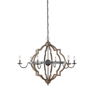 Kenwood Black and Wood 40-Inch Six-Light Chandelier