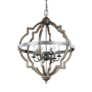 Kenwood Black and Wood 25-Inch Six-Light Chandelier