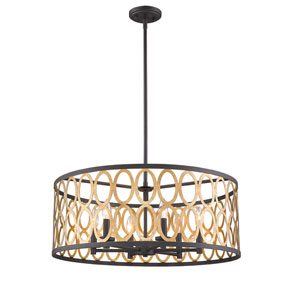 Whittier Black and Warm Brass Six-Light Pendant