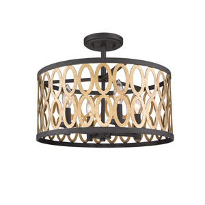 Whittier Black and Warm Brass Four-Light Flush Mount