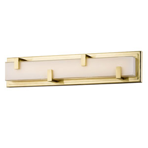 Nicollet Aged Brass 22-Inch LED Wall Sconce with White Glass