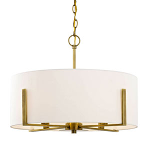 Nicollet Aged Brass Four-Light Pendant with Cream Fabric
