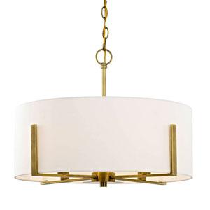 Nicollet Aged Brass Four-Light Pendant with Cream Fabric