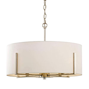 Nicollet Polished Nickel Four-Light Pendant with White Fabric