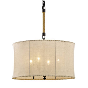 River Station Aged Bronze Four-Light Pendant with Hand-Stitiched Burlap