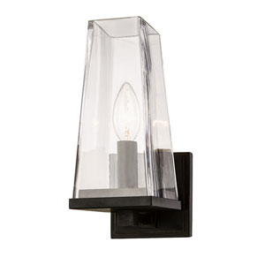 Uptown Aged Bronze One-Light Wall Sconce with Clear Chimney Glass