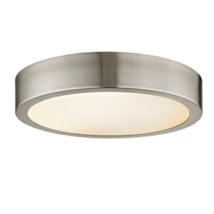 Nicollet Brushed Nickel 14-Inch LED Flush Mount with Etched Glass