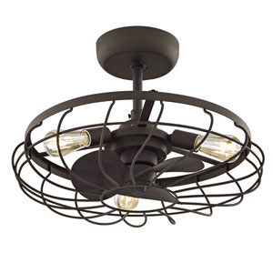 River Station Aged Bronze 13-Inch Three-Light Ceiling Fan