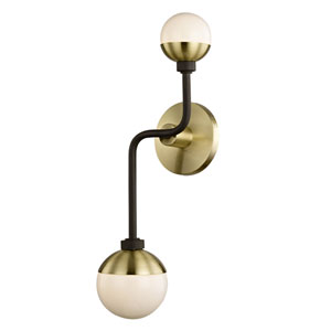 Nicollet Bronze and Brass Two-Light Wall Sconce with Opal Glass
