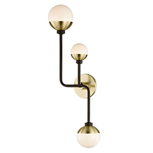 Nicollet Bronze and Brass Three-Light Wall Sconce with Opal Glass