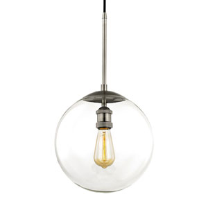 Nicollet Historic Nickel 12-Inch One-Light Pendant with Clear Glass Globe