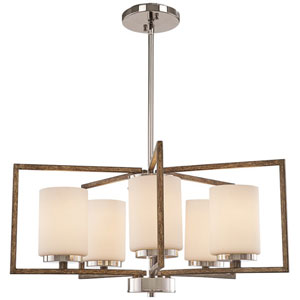 Linden Polished Nickel and Corona Bronze Five-Light Chandelier with Opal Etched Glass Shade