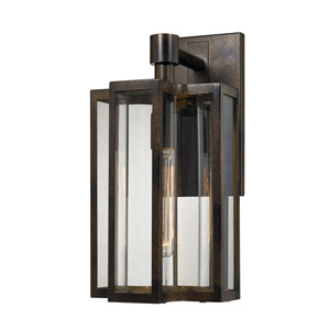 Uptown Hazelnut Bronze 8-Inch One-Light Outdoor Wall Sconce with Clear Glass