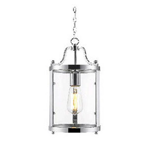 Evelyn Chrome Mini Pendant with Clear Glass
