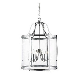 Evelyn Chrome Six-Light Pendant with Clear Glass