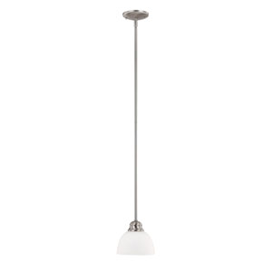 Grace Brushed Nickel One-Light Mini Pendant with Soft White Glass