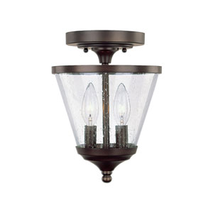 Hayden Burnished Bronze Two-Light Convertible Semi Flush Mount with Soft White Glass