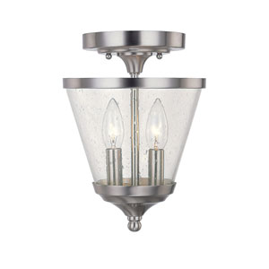 Grace Brushed Nickel Two-Light Convertible Semi Flush Mount with Soft White Glass