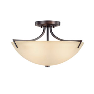Hayden Burnished Bronze Three-Light Semi Flush Mount with Mist Scavo Glass