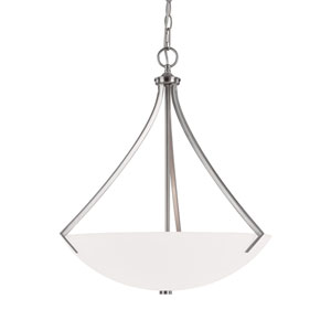 Grace Brushed Nickel Three-Light Pendant with Soft White Glass