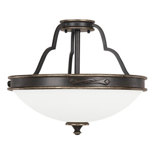 Wellington Surrey Three-Light Semi-Flush with Misty White Glass