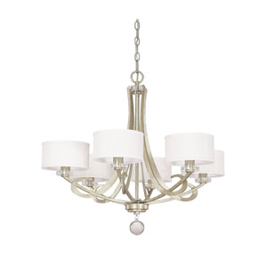 Whittier Winter Gold Six Light Chandelier with Shades