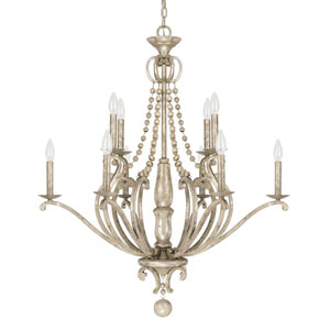 Evelyn Silver Quartz 10-Light Chandelier with Wood Bead