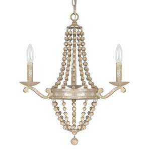 Evelyn Silver Quartz Three-Light Chandelier with Wood Bead
