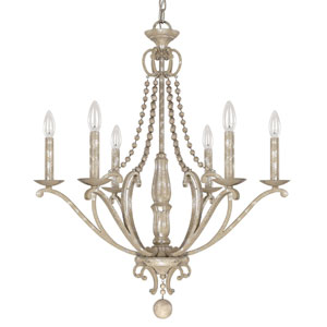 Evelyn Silver Quartz Six-Light Chandelier with Wood Bead