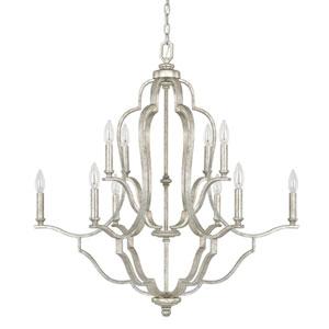Whittier Antique Silver Ten-Light Chandelier