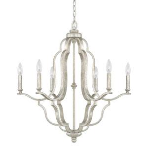 Whittier Antique Silver Six-Light Chandelier