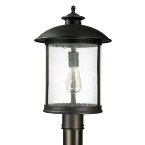 Uptown Old Bronze One-Light Outdoor Post Mount with Antique Glass