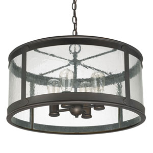 Uptown Old Bronze Four-Light Outdoor Semi-Flush with Antique Glass