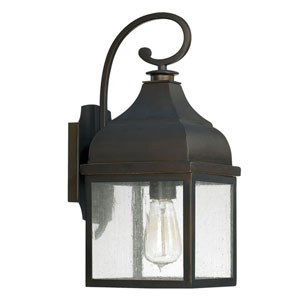 Kenwood Old Bronze One-Light Outdoor Wall Lantern with Antique Glass