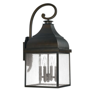 Kenwood Old Bronze Four-Light Outdoor Wall Lantern with Antique Glass