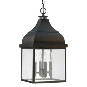 Kenwood Old Bronze Four-Light Outdoor Hanging Lantern with Antique Glass