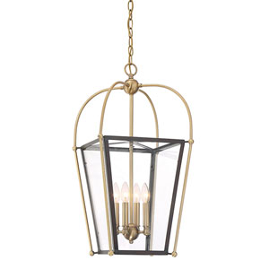 Uptown English Bronze and Warm Brass 14-Inch Four-Light Pendant