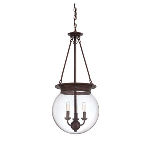 Selby Glass Filament Oiled Burnished Bronze Three Light Pendant