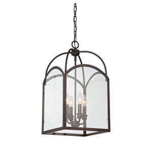 Isles English Bronze 12-Inch Four-Light Foyer Pendant